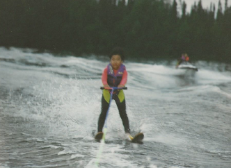 JB water-skiing with pwc spotter behind